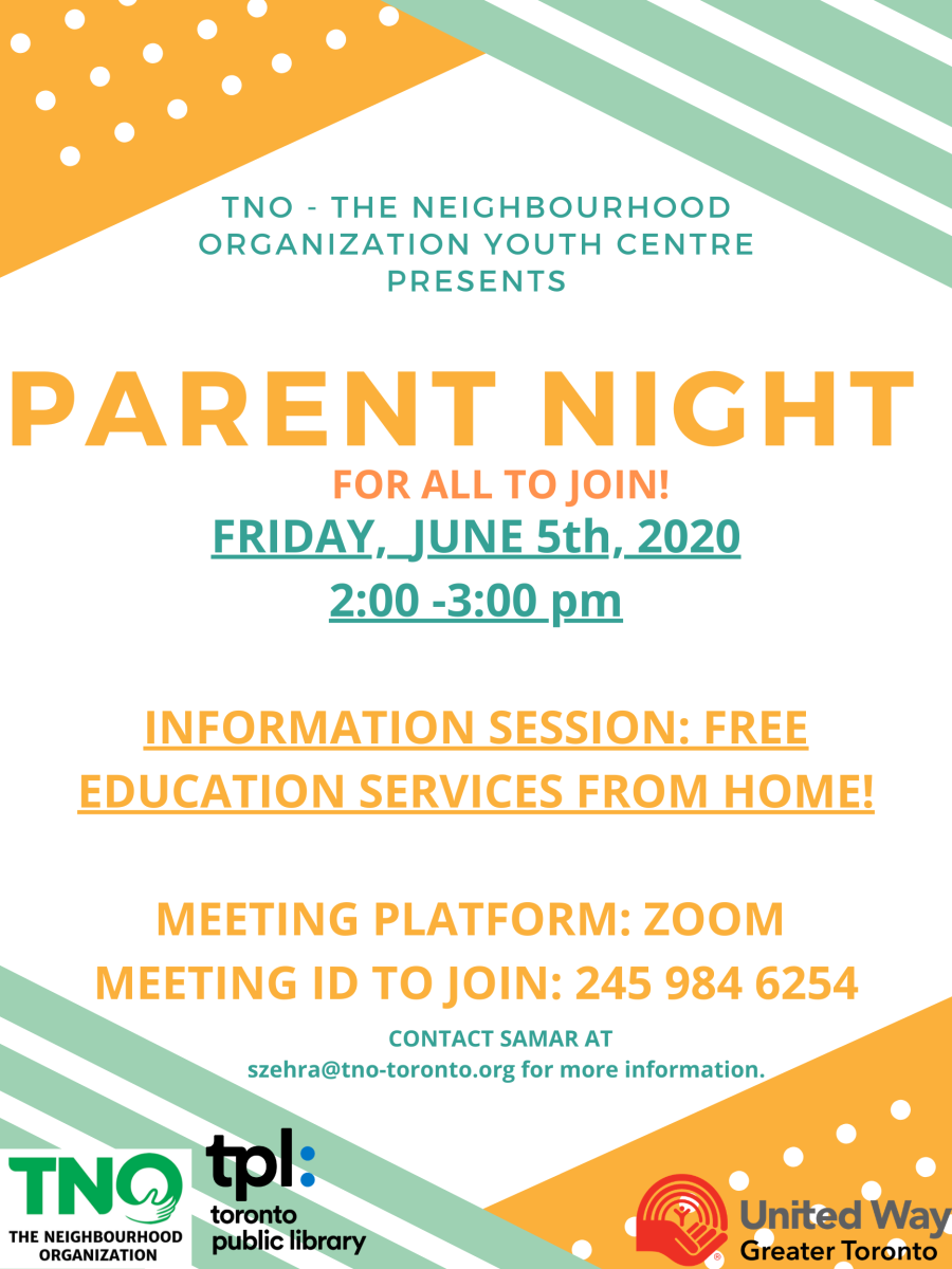 Image of advertisement indicating TNO is hosting a parent information night on June 5th at 2 pm