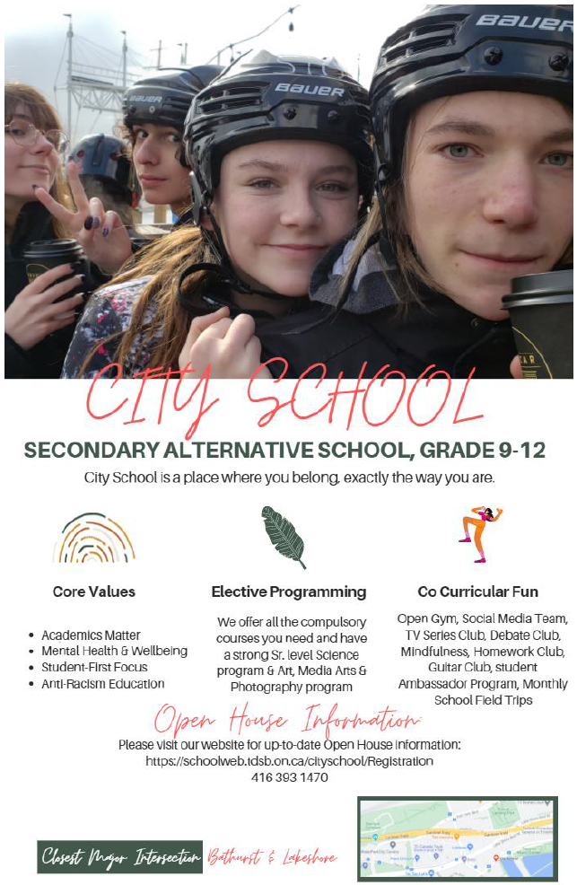 Image with students and information about City school