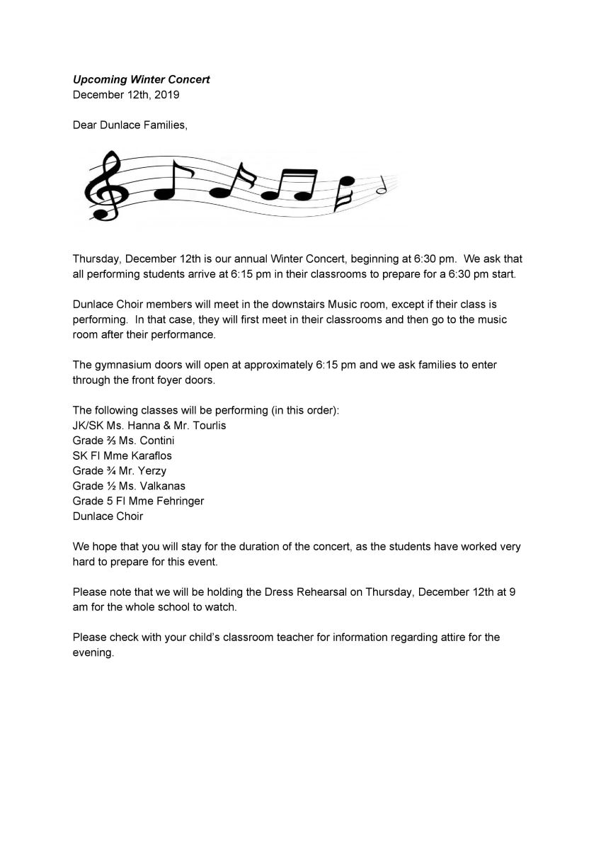 winter concert memo to parents