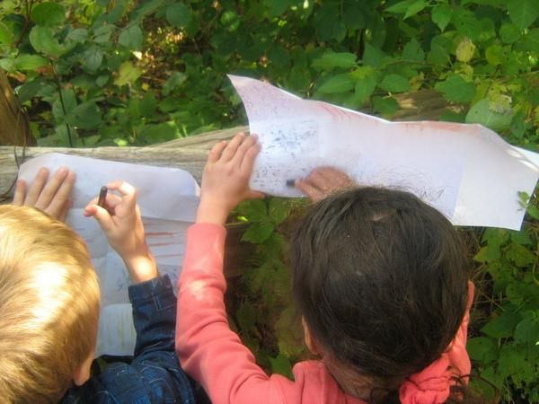 students doing rubbings