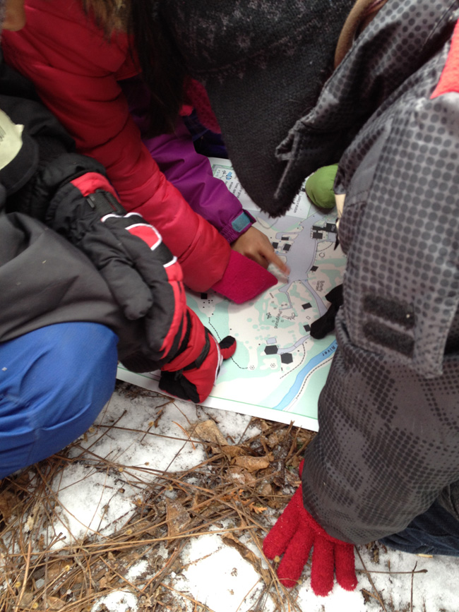 students reading a map of forest valley