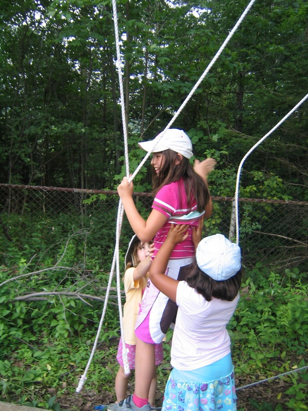 Campers on Low Ropes Course