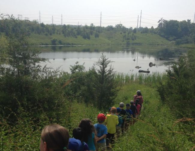 Students walking trail in Rouge Park