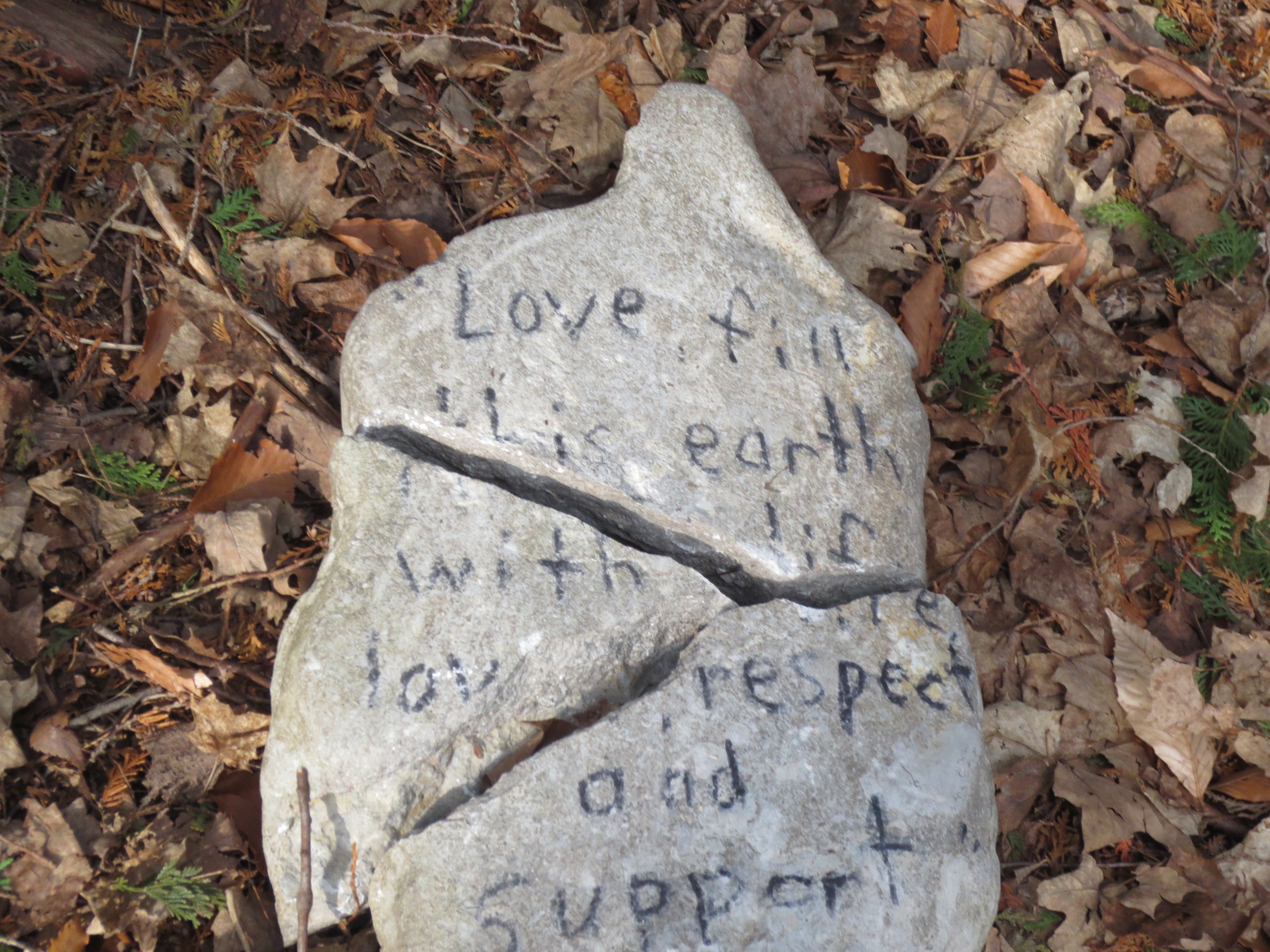 photo of lovely saying on rock