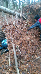 Students building shelter