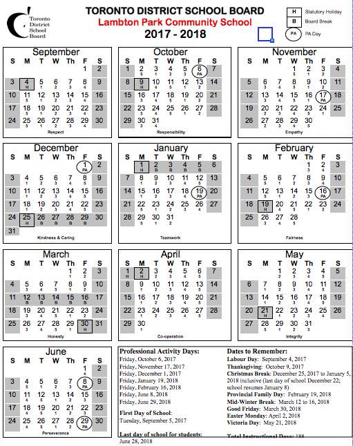 5 Day Cycle School Year Calendar