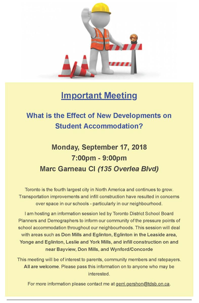 Image of flyer sent out by Trustee Gerri Gershon Announcing Meeting on Monday, Sept 17 at 7:00 p.m. to discuss construction in the area and student accommodation