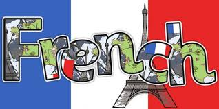 Graphic Image of French Flag with word French and image of Eiffel Tower