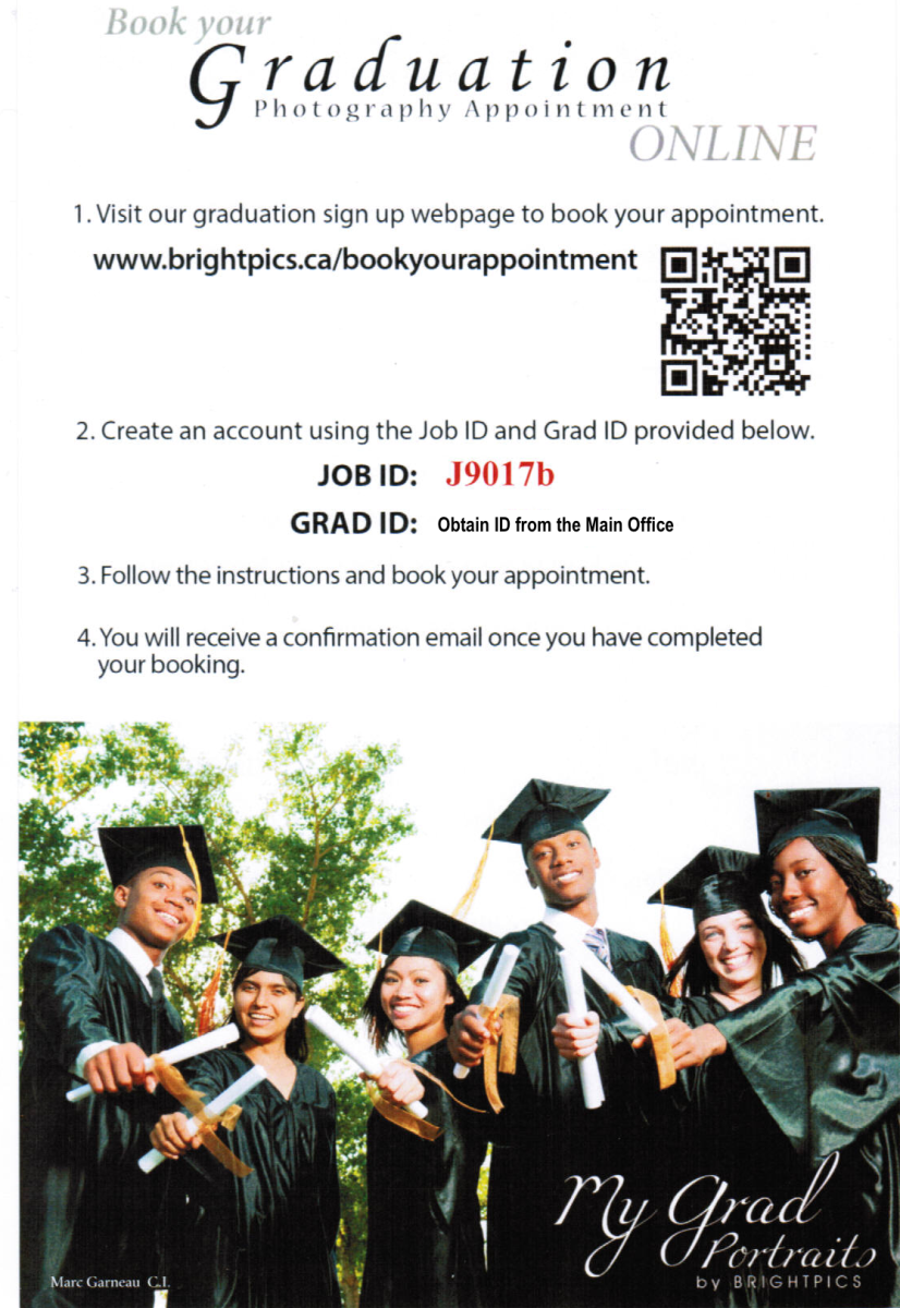 Flyer on how to sign up for Graduation Photos