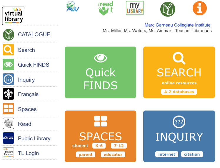 Image of the MGCI Virtual Library Landing Page