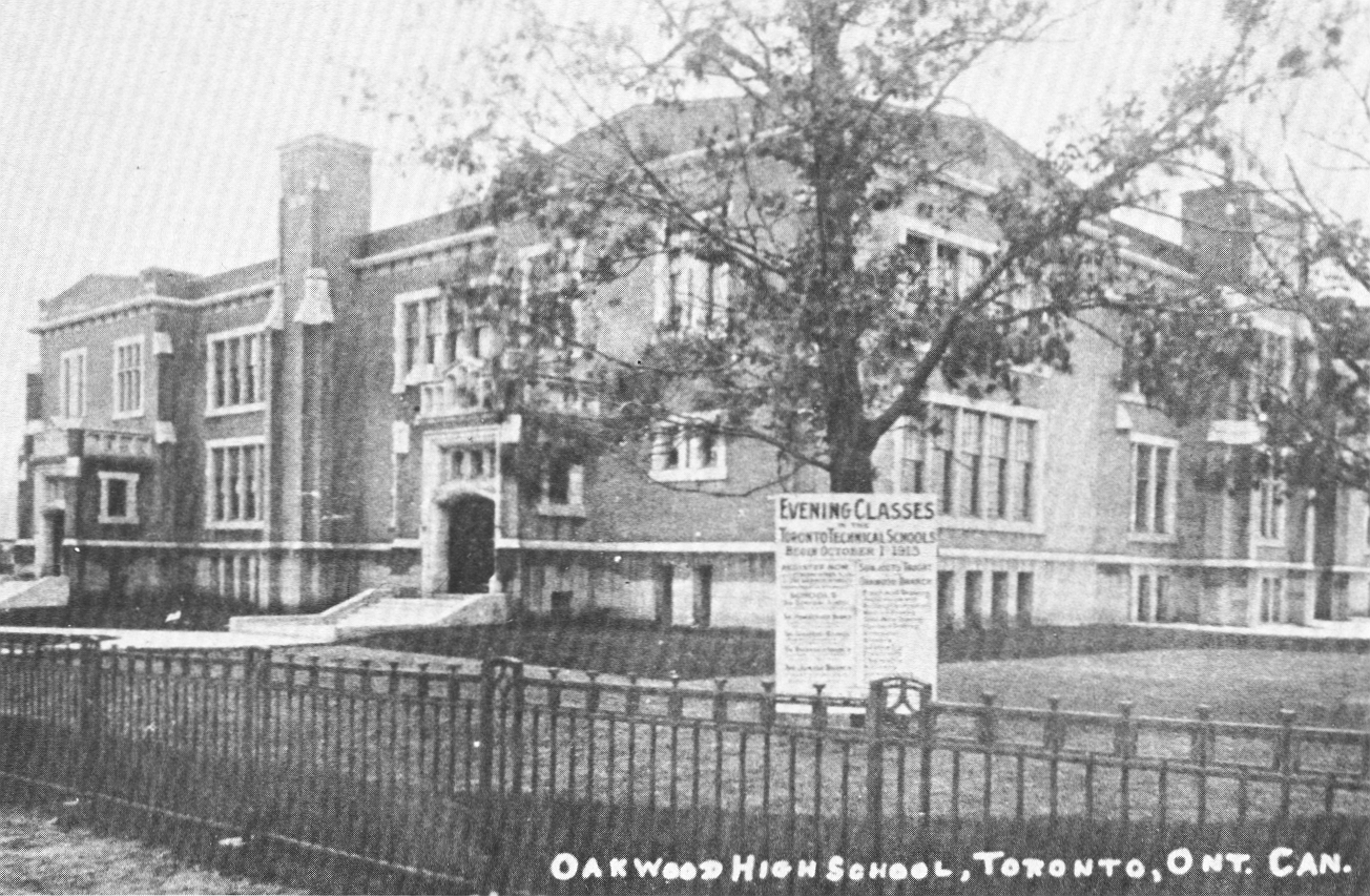 Front view of school in old days