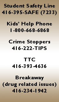 student safety phone numbers
