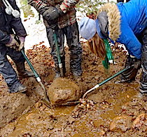 Students using shovels to lift a large rock into place for drainage on a trail