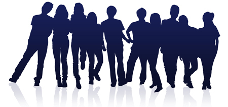 Graphic Silhouette of Teens