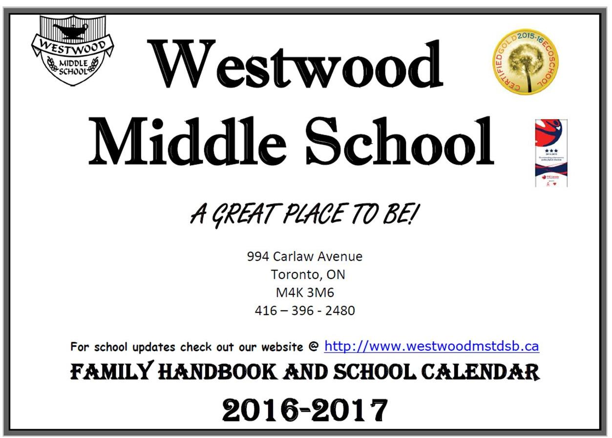 Westwood Family Handbook/School Calendar