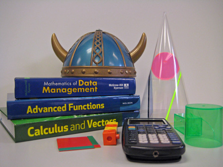Viking helmet with math textbooks and other math resources